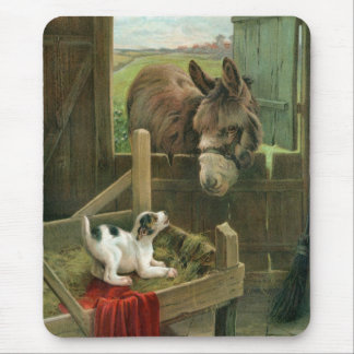 Vintage Donkey & Puppy Dog in Manger Old Barnyard Mouse Mat