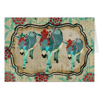 Vintage Donkeys Notecard