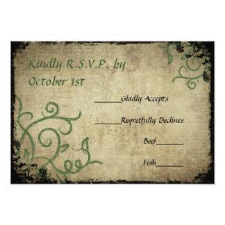 Vintage Doodle Wedding RSVP Personalized Invitation