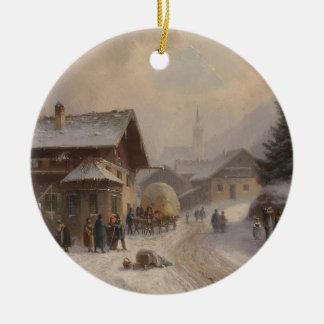 Vintage Dorfstr Germany in Winter Christmas Ornament