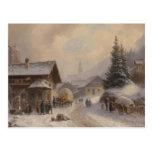 Vintage Dorfstr Germany in Winter Postcard