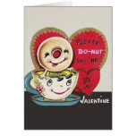 Vintage Doughnut and Coffee Cup Valentine's Day Greeting Card