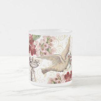 Vintage Dove & Birdbath Frosted Glass Mug