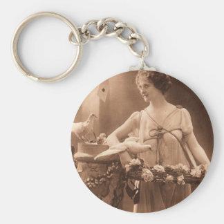Vintage Dove Lady Key Ring