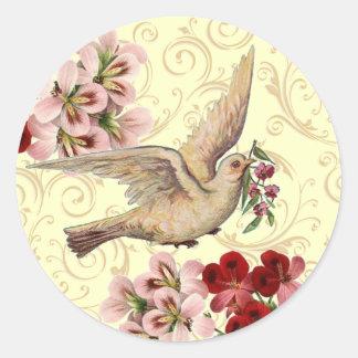 Vintage Dove Round Sticker