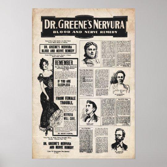 Vintage Dr Greene Nervura Poster