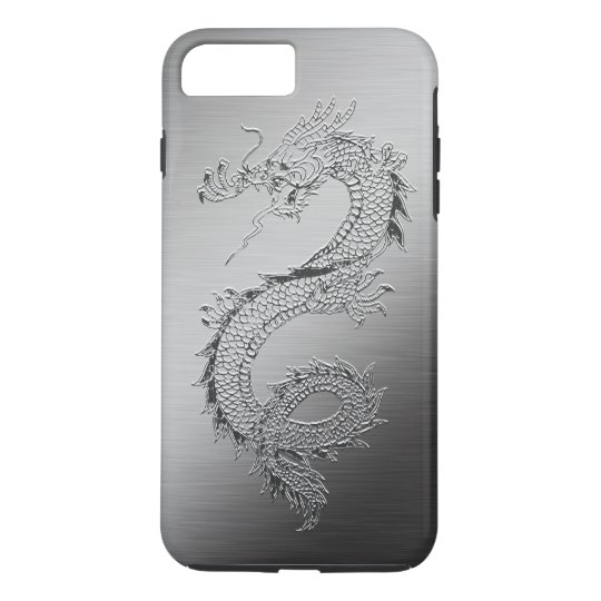 Vintage Dragon Brushed Metal Look iPhone 7 Plus Case