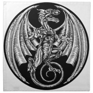 Vintage Dragon Etching Woodcut Napkin
