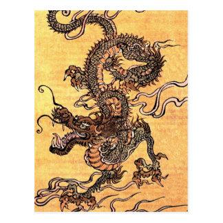 vintage dragon tapestry postcard