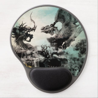 Vintage Dragon vs Phoenix - Chinese Painting Art Gel Mouse Mat