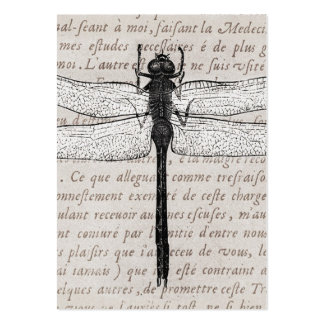 Vintage Dragonfly and Antique Text Collage Business Card Templates