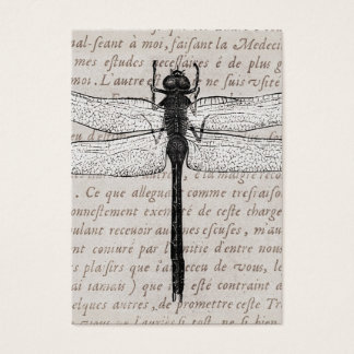 Vintage Dragonfly and Antique Text Collage Business Card