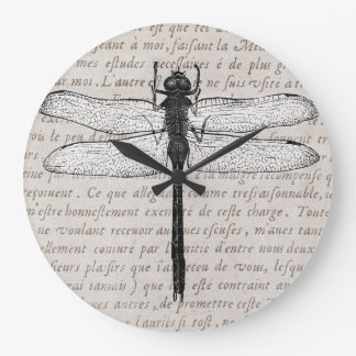 Vintage Dragonfly and Antique Text Collage Large Clock