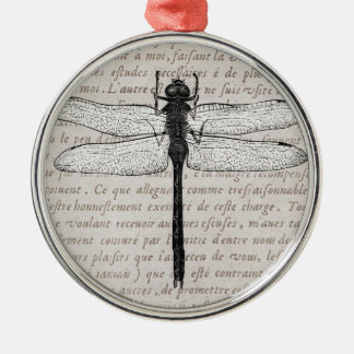 Vintage Dragonfly and Antique Text Collage Silver-Colored Round Decoration