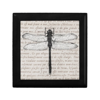 Vintage Dragonfly and Antique Text Collage Small Square Gift Box