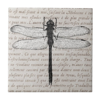 Vintage Dragonfly and Antique Text Collage Tile