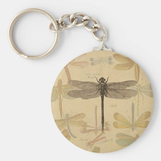 Vintage dragonfly drawing basic round button key ring