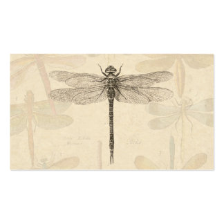 Vintage dragonfly drawing business card template