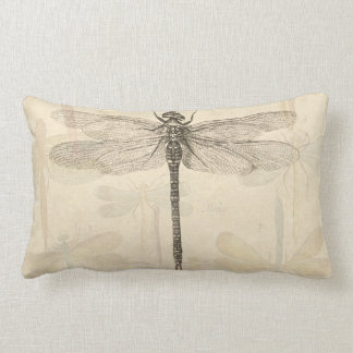 Vintage dragonfly drawing pillow