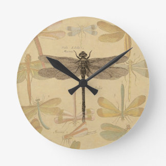 Vintage dragonfly drawing round clock