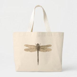 Vintage dragonfly drawing Simple Jumbo Tote Bag