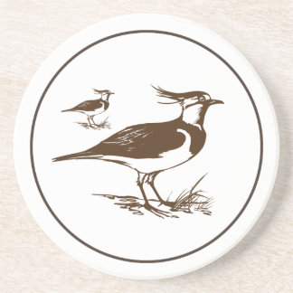 Vintage Drawing Brown And Tan Bird Family Beverage Coasters