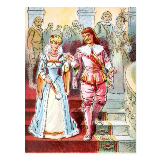 Vintage Drawing: Cinderella and the Prince Postcard