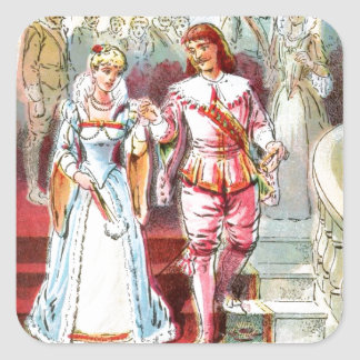 Vintage Drawing: Cinderella and the Prince Square Sticker