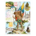 Vintage Drawing: Colombia and Ecuador Postcard