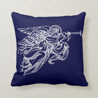 Vintage drawing of angel on navy Christmas pillow