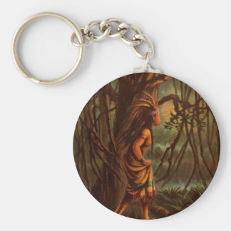 Vintage Drawing: Pocahontas, The Indian Princess Key Ring