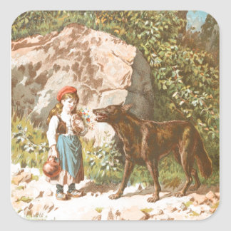 Vintage Drawing: Red Riding Hood and the Wolf Square Sticker