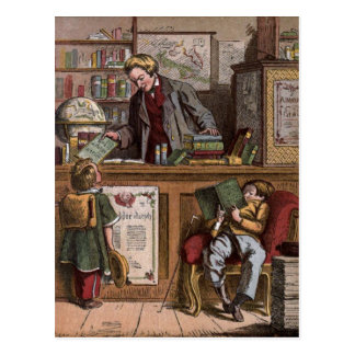 Vintage Drawing: The Antique Bookstore Postcard