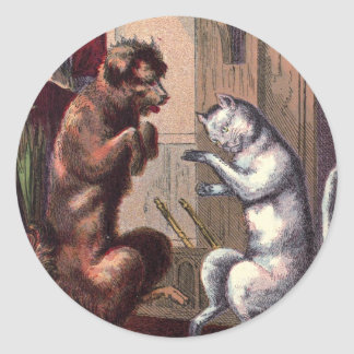 Vintage Drawing: The Dancing Lesson Round Sticker