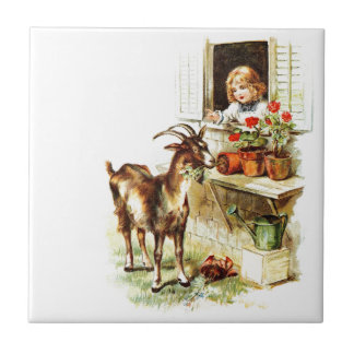 Vintage Drawing: The Mischievous Goat Tile