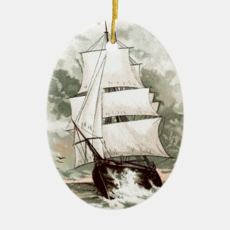 Vintage Drawing: Three Masted Ship Christmas Ornament