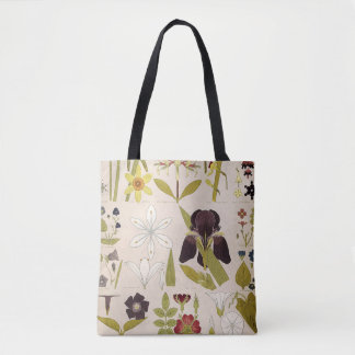 Vintage Drawings of Flowers Tote Bag