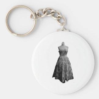 Vintage Dress 2 Basic Round Button Key Ring