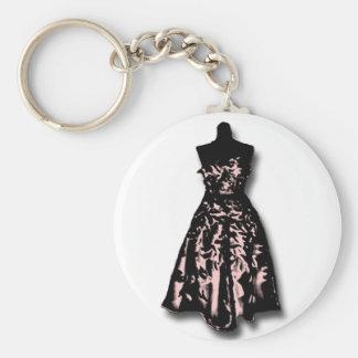 Vintage Dress Basic Round Button Key Ring