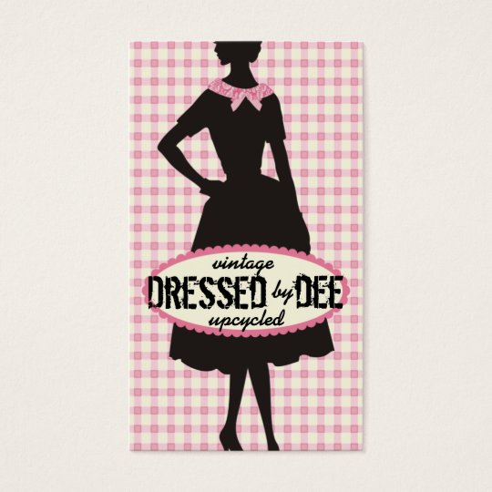 Vintage dress pattern silhouette sewing clothing business card