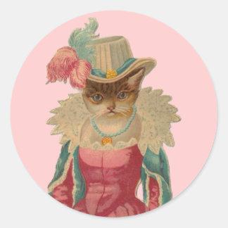 Vintage Dressy Cat Classic Round Sticker