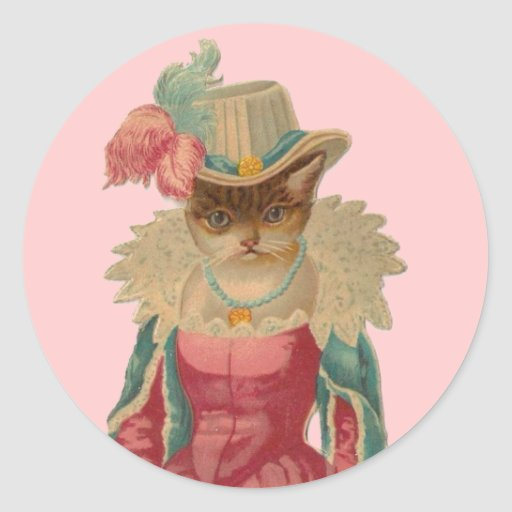 Vintage Dressy Cat Stickers