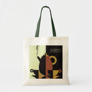 Vintage Drinks Beverages Coffee Pot with Cups Budget Tote Bag