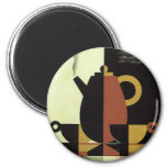 Vintage Drinks Beverages Coffee Pot with Cups Fridge Magnets