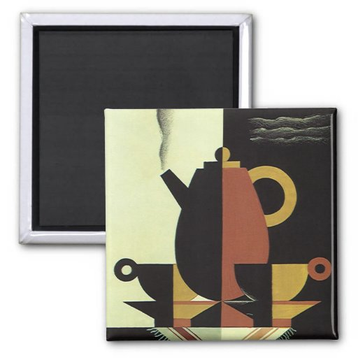 Vintage Drinks Beverages Coffee Pot with Cups Magnets