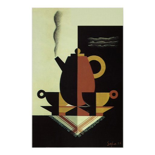 Vintage Drinks Beverages Coffee Pot with Cups Posters
