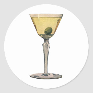 Vintage Drinks Beverages, Martini Olive Cocktail Round Sticker