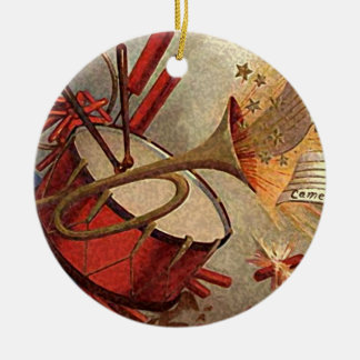 vintage drum and trumpet decor christmas ornament