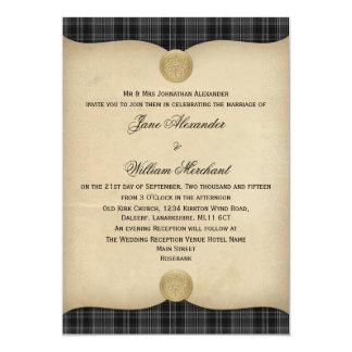 Vintage Drummond Grey Tartan Plaid Wedding Invites
