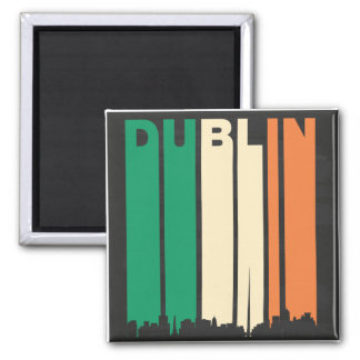 Vintage Dublin Cityscape Square Magnet